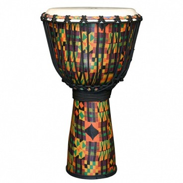 "Kente Cloth Royal Djembe, 10"" Head"