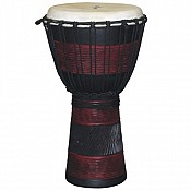 "Red Black African Djembe, 19-20"" Tall x 10-11"" Head"