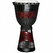 "Red Black African Djembe, 24"" Tall x 11-12"" Head"