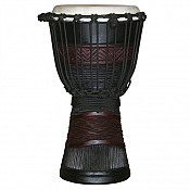 "Red Black African Djembe, 15-16"" Tall x 8-9"" Head"